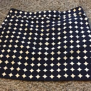 Navy and white polka dot skirt